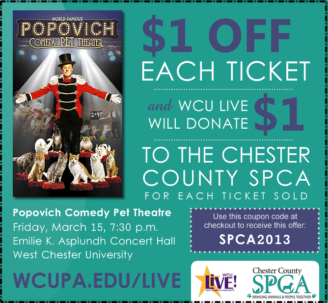 Chester county spca philaburban mom 1 off for you and 1 to chester county spca purchase your tickets for the family oriented world famous popovich comedy pet theatre fandeluxe Choice Image